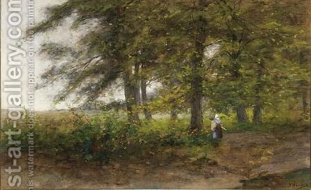 A Peasant Woman In A Forest Landscape by Jan Hillebrand Wijsmuller - Reproduction Oil Painting