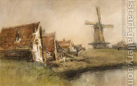 Houses And A Windmill In A Riverlandscape by Jan Hillebrand Wijsmuller - Reproduction Oil Painting