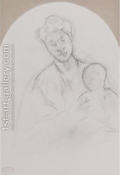 Femme Tenant Son Enfant Sur Les Genoux (Mother Jeanne Holding Her Baby) by Mary Cassatt - Reproduction Oil Painting
