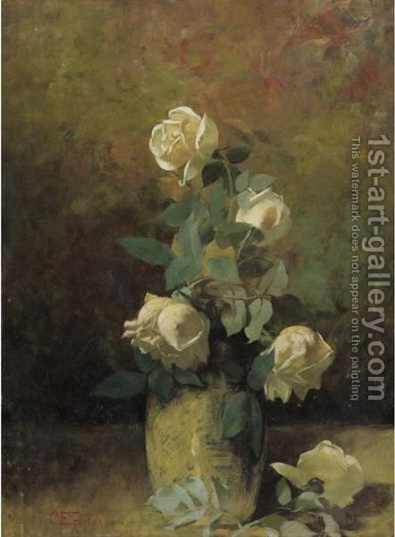 Still Life With Yellow Roses In A Vase by Charles Ethan Porter - Reproduction Oil Painting