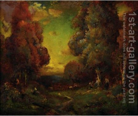 Gathering Wood In A Forest Clearing by Alexis Matthew Podchernikoff - Reproduction Oil Painting