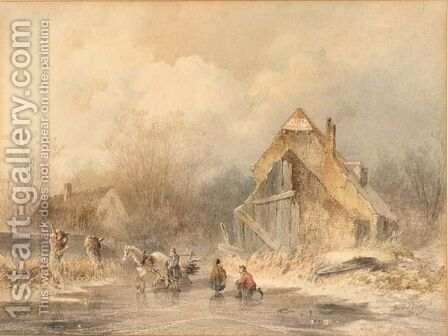 A Winter Landscape With Figures On The Ice by Andries Van Den Bergh - Reproduction Oil Painting