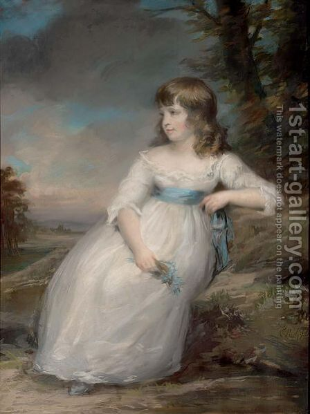 A Portrait Of A Seated Young Girl by (after) Faithful Christohper Pack - Reproduction Oil Painting