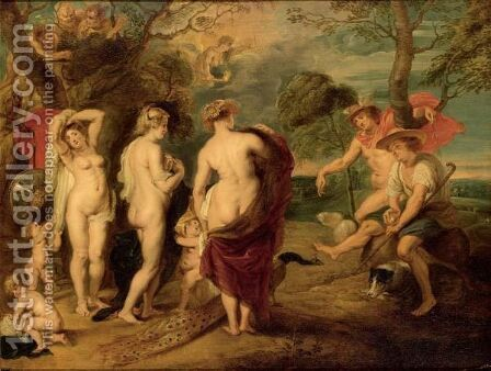 The Judgement Of Paris 3 by (after) Sir Peter Paul Rubens - Reproduction Oil Painting