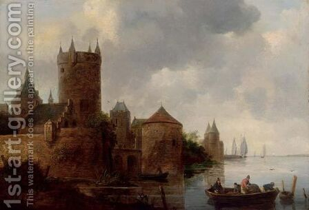 A River Landscape With A Fishing Boat Near A Fortified Town With A Tower by (after)  Jan Van Goyen - Reproduction Oil Painting