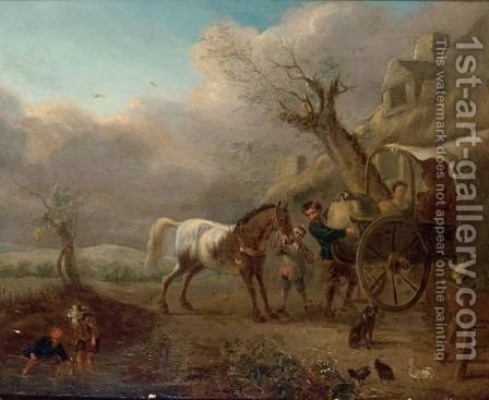 A Landscape With Travellers Unloading Their Wagon Near A Barn by (after) Philips Wouwerman - Reproduction Oil Painting