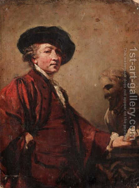 Self Portrait With The Bust Of Michaelangelo by (after) Sir Joshua Reynolds - Reproduction Oil Painting