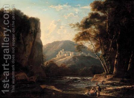 Classical Landscape With Figures Resting By A Stream by (after) Thomas Barker Of Bath - Reproduction Oil Painting