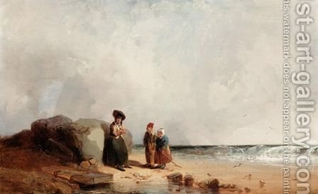 Figures On The Beach by (after) Henry Bright - Reproduction Oil Painting
