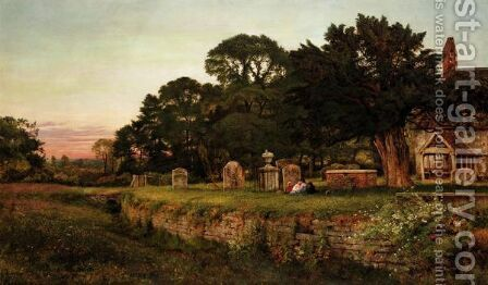In A Country Churchyard, Wittington, Worcester by Benjamin Williams Leader - Reproduction Oil Painting