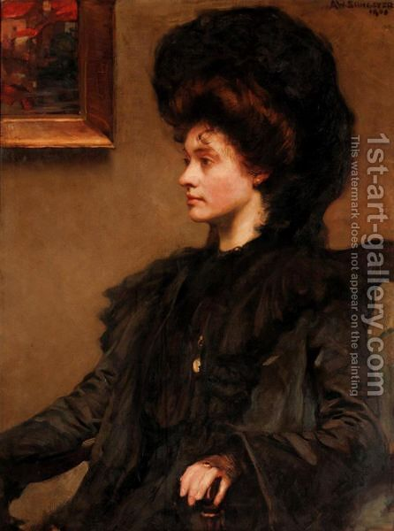 Portrait Of Ethel Cooper, Daughter Of The Late John Wilson Cooper Esq. by Alfred Sangster - Reproduction Oil Painting