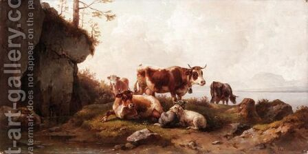 Cattle Grazing by Edmund Mahlknecht - Reproduction Oil Painting