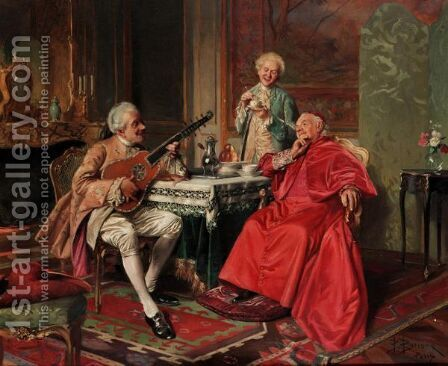 A Song At Tea by Bernard-Louis Borione - Reproduction Oil Painting