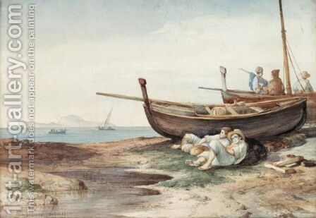 Fishermen At Rest by Consalvo Carelli - Reproduction Oil Painting