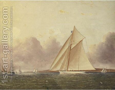 A View Of New York Sound, The 'Volunteer' In The Foreground by James E. Buttersworth - Reproduction Oil Painting