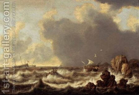 Ships At Anchor, A Sailing Boat And A Rowing Boat In Stormy Waters by (after) Willem Van Diest - Reproduction Oil Painting