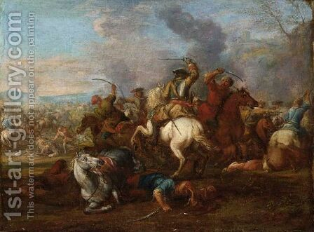 A Cavalry Battle Scene Between Christians And Turks by (after) Christian Reder - Reproduction Oil Painting
