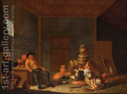 A Barn Interior With A Still Life Of Pots, A Copper Bowl, A Jug On A Barrel And Vegetables, Peasants Drinking Nearby by Jan Spanjaert - Reproduction Oil Painting