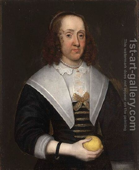 A Portrait Of A Lady, Half Length, Wearing A Black Dress With A White Lace Collar, Holding A Lemon In Her Right Hand by Dutch School - Reproduction Oil Painting