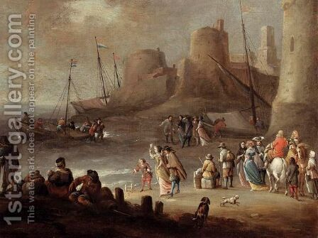 A Mediterranean Coastal Landscape With Elegant Figures On A Beach With Fishermen Unloading Their Catch, A Fortified Town Beyond by Hieronymus Janssens - Reproduction Oil Painting