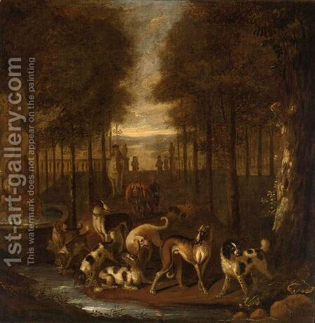 Spaniels And Other Hounds In A Park Setting Next To A Fountain by Adriaen Cornelisz. Beeldemaker - Reproduction Oil Painting