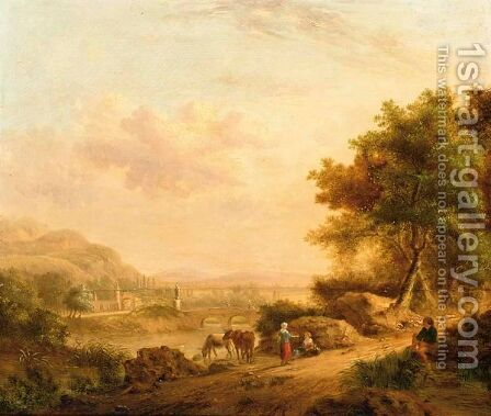 A River Landscape With Figures Resting by (after) Johann Christian Vollerdt Or Vollaert - Reproduction Oil Painting