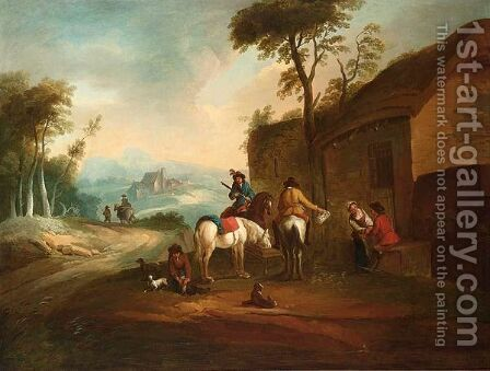 An Italianate Landscape With Horsemen Resting Near An Inn by (after) Philips Wouwerman - Reproduction Oil Painting