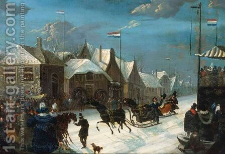 Horse-Sledges In A Winter Landscape by Dutch School - Reproduction Oil Painting