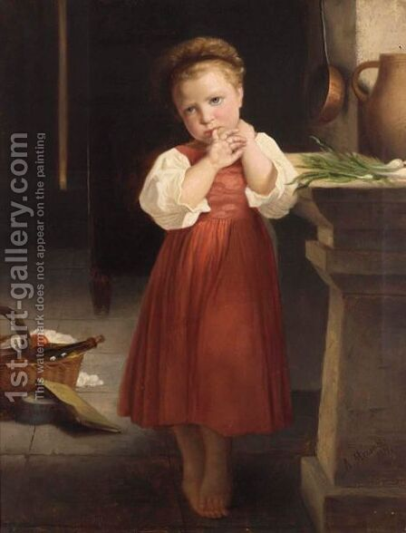 A Young Girl In A Kitchen Interior by A. Meisner - Reproduction Oil Painting