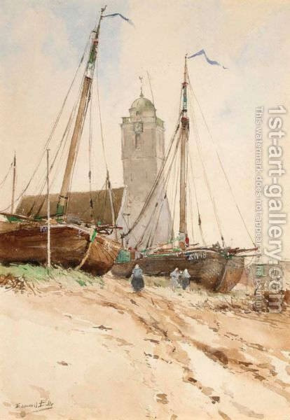 Fishing Boats In Katwijk Aan Zee by Edouard Elle - Reproduction Oil Painting