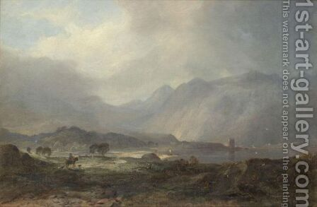 Possibly Duntroon Castle, Loch Crinan by Horatio McCulloch - Reproduction Oil Painting