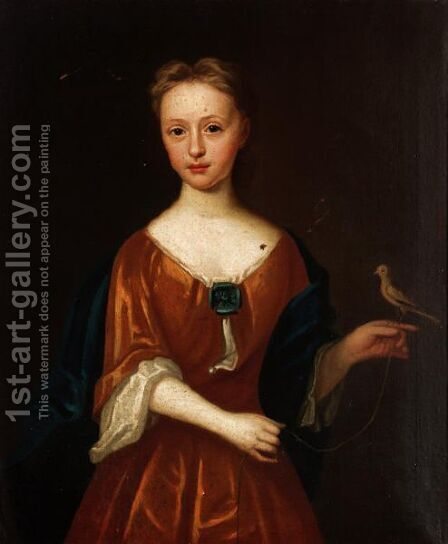 Portrait Of A Girl Holding A Bird by (after) Hans Hysing - Reproduction Oil Painting