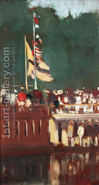College Houseboats At Oxford by Albert Jnr. Ludovici - Reproduction Oil Painting