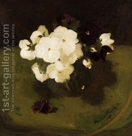 Still Life With White And Purple Pansies by James Stuart Park - Reproduction Oil Painting