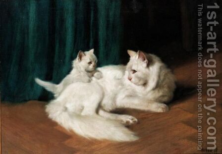Feline With Her Kitten by Arthur Heyer - Reproduction Oil Painting