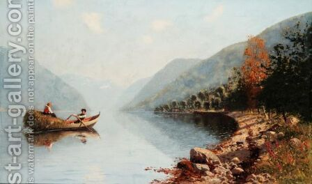 Rowing Through The Fjords by Hans Dahl - Reproduction Oil Painting
