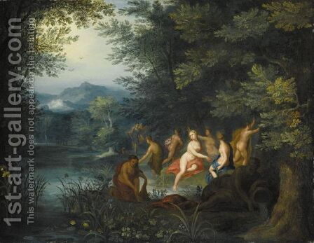 Diana And Her Nymphs Surprised By Acteon by (after) Jan, The Younger Brueghel - Reproduction Oil Painting