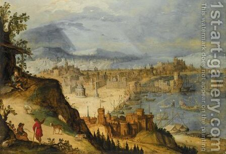 A Panoramic View Of An Imaginary City, With Travellers Resting In The Foreground by (after) Hendrick Van Cleve - Reproduction Oil Painting