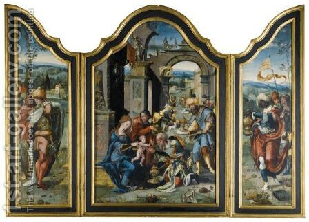A Triptych Representing The Adoration Of The Magi by (after) Pieter Coecke Van Aelst - Reproduction Oil Painting