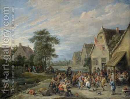 A Village Kermesse 3 by (after) David The Younger Teniers - Reproduction Oil Painting