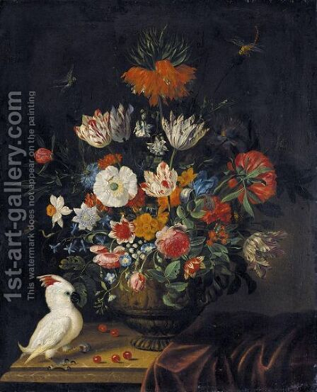 Still Life Of Flowers Including Irises, Roses, A Crown Imperial Lily, Marigolds  And Parrot Tulips by Jacob Marrel - Reproduction Oil Painting