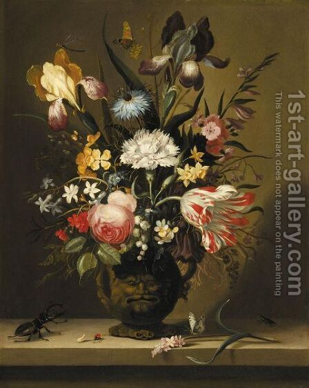 A Still Life Of Flowers, Including A Parrot Tulip, Irises And Roses, In A Grotesque Vase by Jacob Marrel - Reproduction Oil Painting