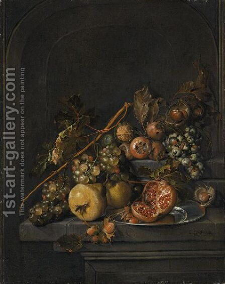 Still Life Of Fruit And Nuts On A Stone Ledge, Including Grapes, Pears, Horse Chestnuts by Cornelis De Heem - Reproduction Oil Painting