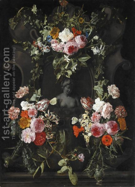 A Female Stone Bust Set In A Stone Cartouche, Surrounded By A Garland Of Flowers Including Roses by Carstian Luyckx - Reproduction Oil Painting