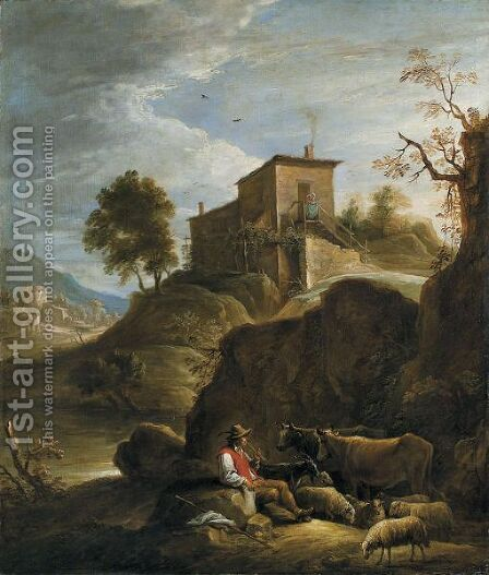 A Pastoral Landscape With A Herdsman Playing A Pipe Near A Waterfall by David The Younger Teniers - Reproduction Oil Painting