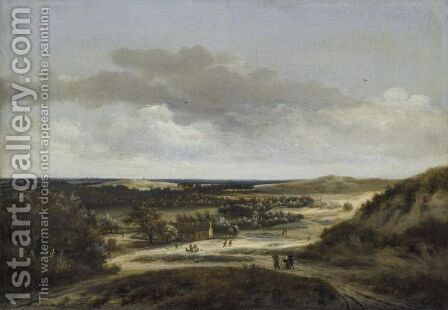 Extensive Dune Landscape With Figures Near Cottages by Jan the Elder Vermeer van Haarlem - Reproduction Oil Painting