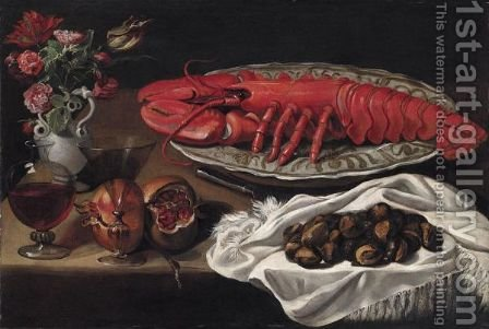 Still Life With A Lobster, Pomegranates, A Decanter Of Wine And A Vase Of Flowers by Italian School - Reproduction Oil Painting