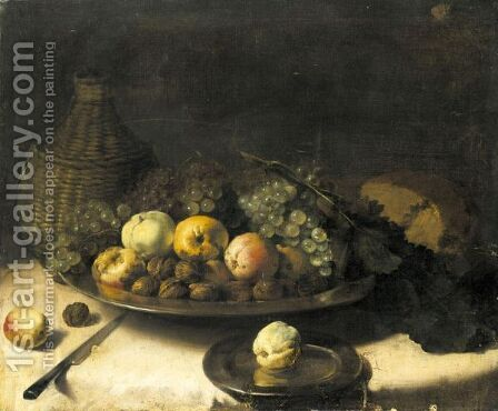 A Still Life With Fruit And Walnuts In A Silver Bowl, A Cask Of Wine, A Knife And Other Objects Laid Out On A Draped Table by (after) Pierre Van BOUCLE (BOECKEL) - Reproduction Oil Painting