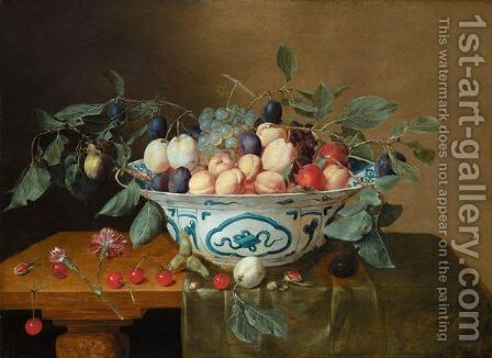 Still Life Of Apricots, Plums, Red And White Grapes In A Wan Li Kraak Porcelain Bowl by Jacob van Hulsdonck - Reproduction Oil Painting