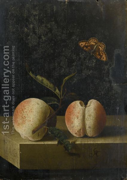 Still Life With Two Peaches And A Fritillary Butterfly On A Stone Ledge by Adriaen Coorte - Reproduction Oil Painting